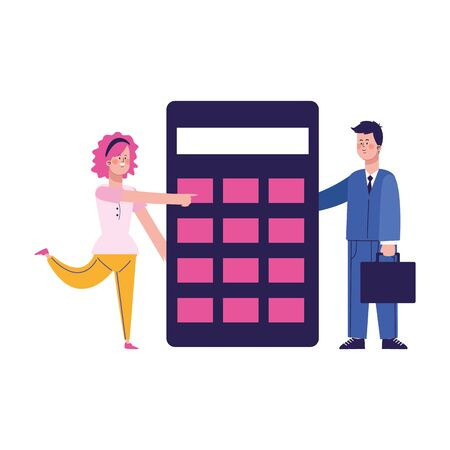cartoon woman and man with calculator over white background, colorful design, vector illustration