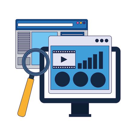 computer with web pages and magnifying glass over white background, vector illustration