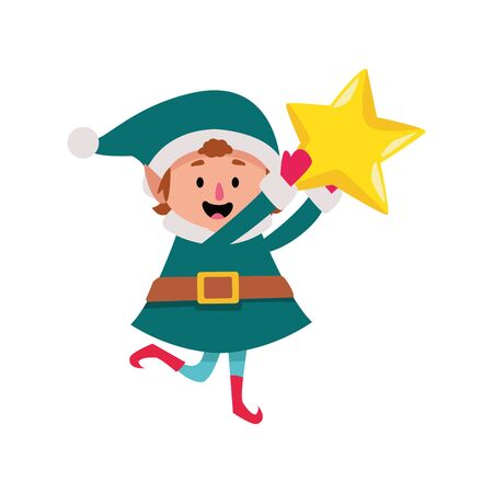 christmas elf holding a star over white background, vector illustration  イラスト・ベクター素材