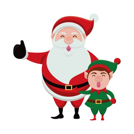 merry christmas santa claus and elf characters vector illustration design  イラスト・ベクター素材