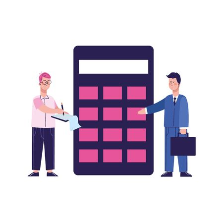 businessman and man standing next to a big calculator over white background, vector illustration 일러스트
