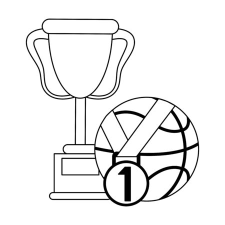 Basketball trophy with ball and medal Designe