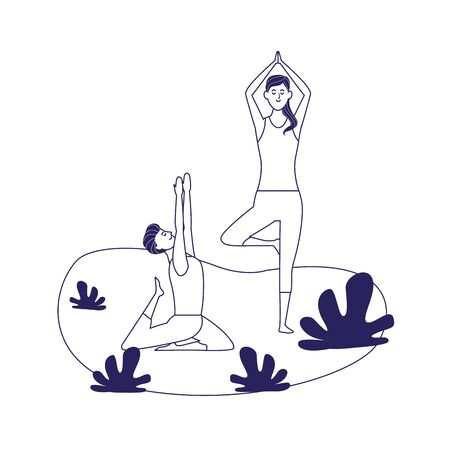 relaxed couple doing yoga poses outdoors over white background, flat design, vector illustration Ilustração
