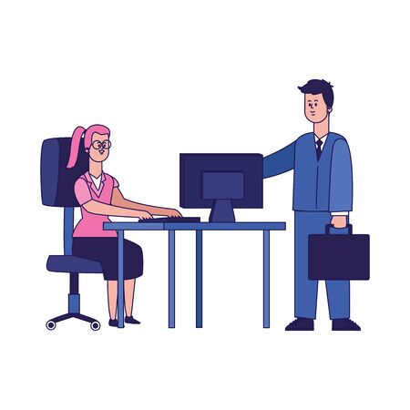cartoon businessman and woman working on office desk with computer over white background, colorful design, vector illustration