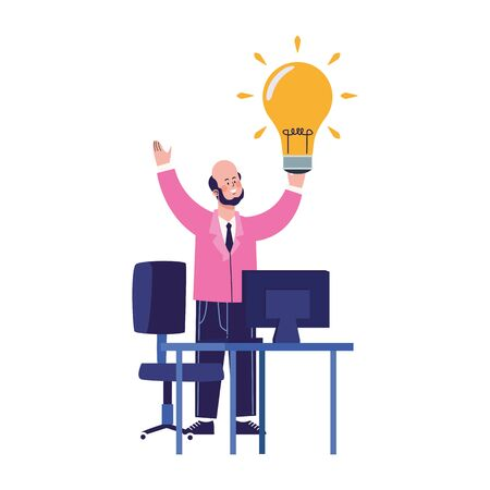 Happy businessman with bulb and office desk with computer over white background, colorful design, vector illustration