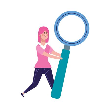 cartoon woman with big magnifying glass over white background, colorful design, vector illustration  イラスト・ベクター素材