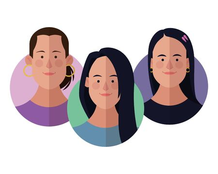 Young people face cartoons round icons vector illustration graphic design