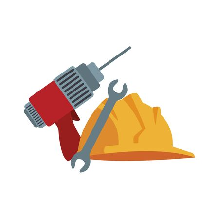 drill with wrench and construction helmet icon over white background, vector illustration