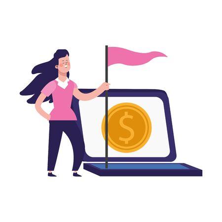 laptop computer and cartoon woman holding a flag over white background, vector illustration Vektorgrafik