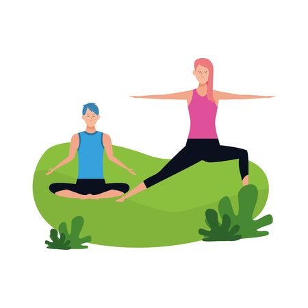 relaxed couple doing yoga outdoor over white background, vector illustration Illustration