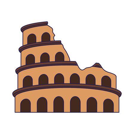 Roman colosseum icon over white background, vector illustration