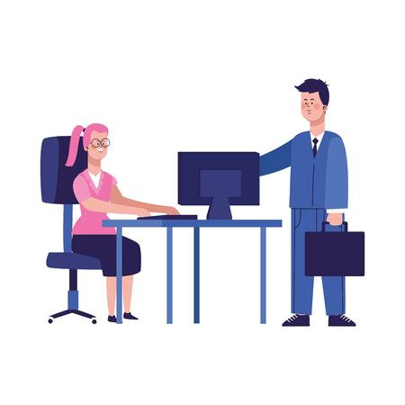 cartoon businessman and woman working on office desk with computer over white background, vector illustration Illusztráció