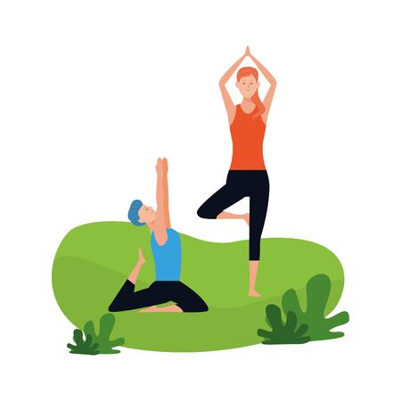 relaxed couple doing yoga poses outdoors over white background, vector illustration