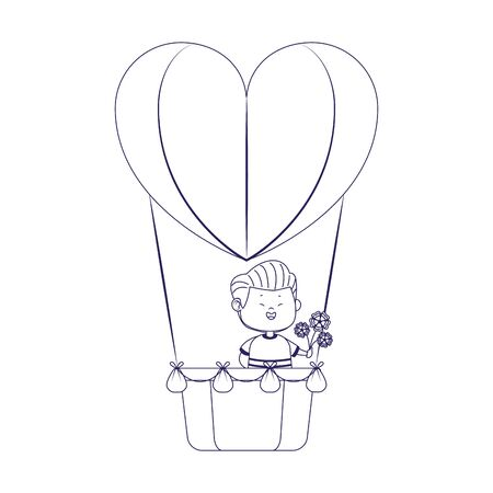 boy with flowers in hot air balloon in heart shape over white background, flat design, vector illustration