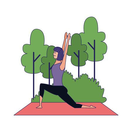 young woman practicing yoga at outdoors over white background, vector illustration