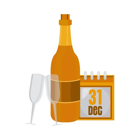 champagne bottle and cup with new year calendar vector illustration design