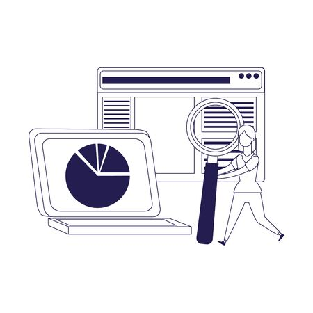 Laptop computer, web page and woman holding a magnifying glass over white background, flat design, vector illustration