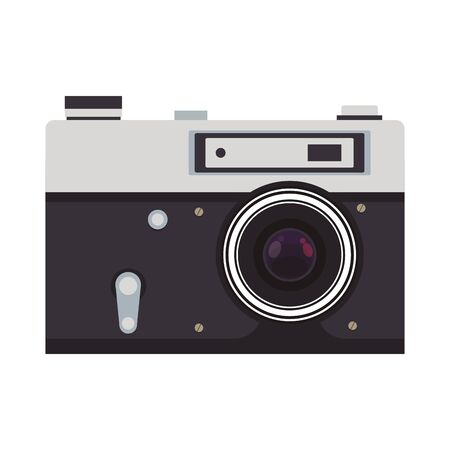 photographic camera icon over white background, vector illustration