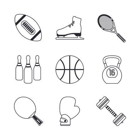 bundle of sports set icons vector illustration design