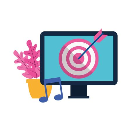 plant in a pot and computer with target over white background, colorful design, vector illustration