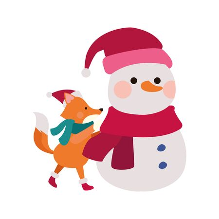 christmas snowman and cute fox icon over white background, vector illustration