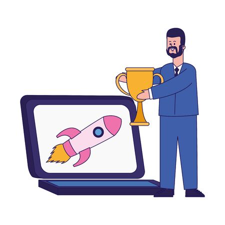 cartoon businessman holding a trophy and laptop computer with rocket icon over white background, colorful design, vector illustration