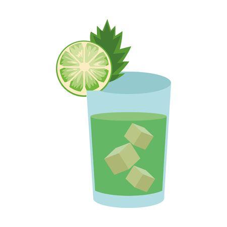 mojito cocktail icon over white background, vector illustration