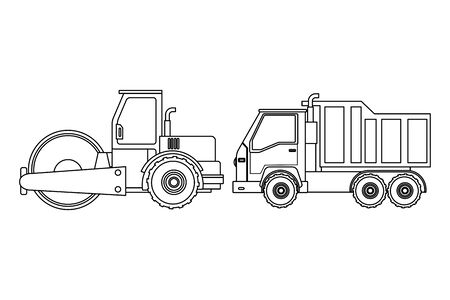 Construction vehicles steamroller and truck machinery vector illustration graphic design