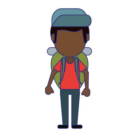 Tourist man with backpack and hat avatar vector illustration graphic design