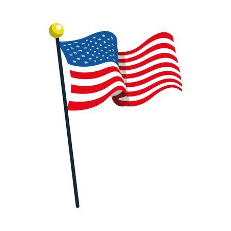 united states american flag in pole vector illustration design