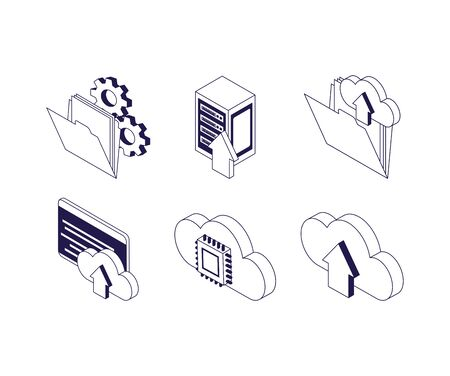 cloud computing circuit website download data server technology internet set icons vector illustration