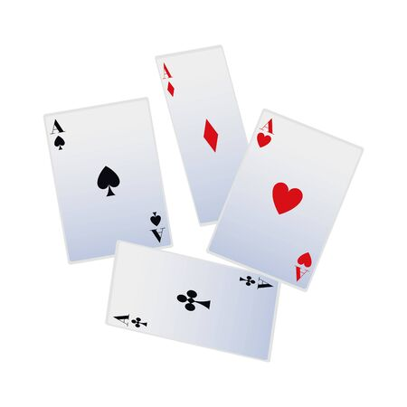 aces of playing cards icon over white background, vector illustration
