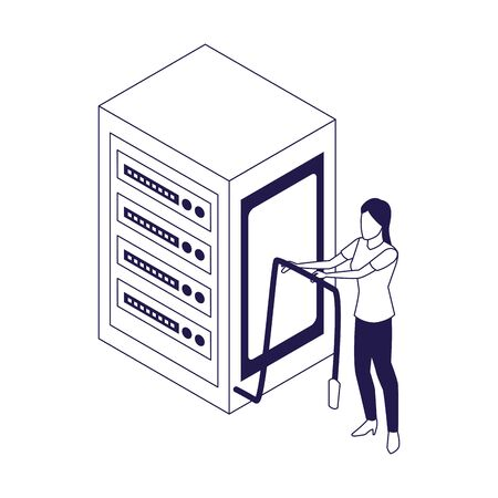data center server and woman holding a cord icon over white background, vector illustration 일러스트