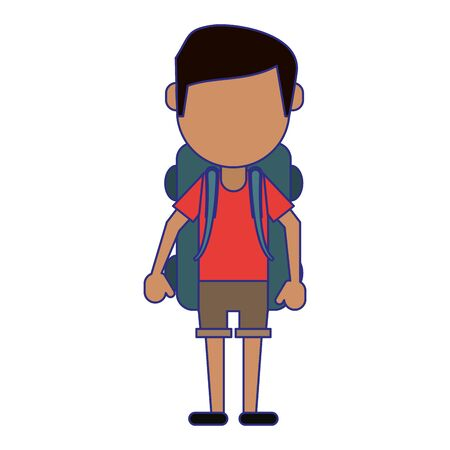 Tourist man with backpack avatar vector illustration graphic design