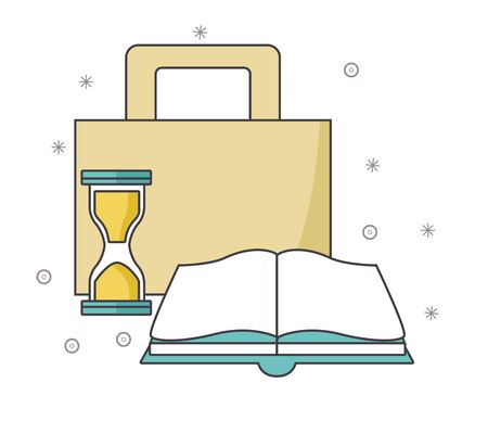 portfolio with hourglass and book over white background, vector illustration 向量圖像