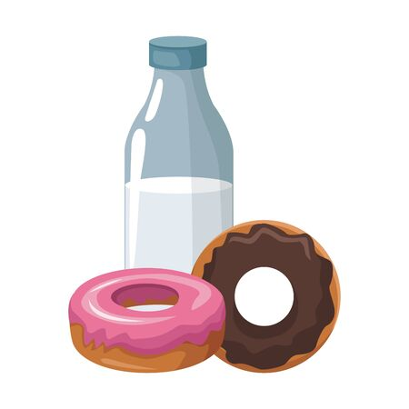milk bottle and sweet donuts icon over white background, vector illustration 向量圖像