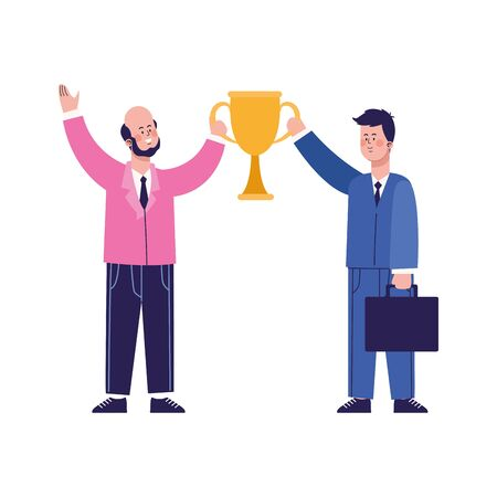 cartoon happy businessmen holding a trophy cup over white background, vector illustration