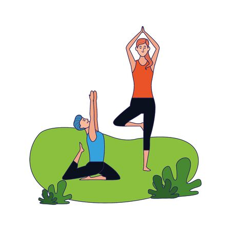 relaxed couple doing yoga poses outdoors over white background, colorful design, vector illustration