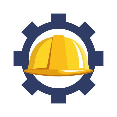 gear wheel with safety helmet over white background, vector illustration