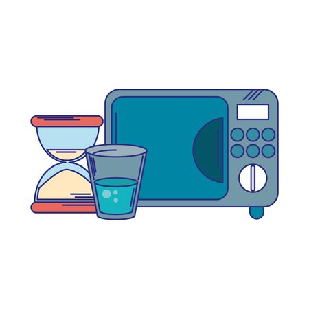 microwave water cup and hourglass vector illustration graphic design 向量圖像