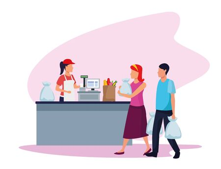avatar supermarket worker at cash register with costumers with bags over white background, colorful design , vector illustration
