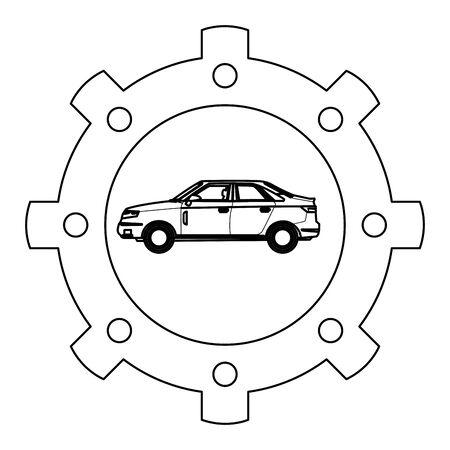 transportation concept car gear support cartoon vector illustration graphic design