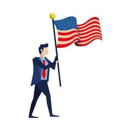 businessman with united states american flag vector illustration design
