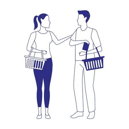 avatar man and woman with supermarket baskets over white background, vector illustration Ilustração