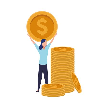 stack of coins and avatar business woman holding a money coin icon over white background, vector illustration