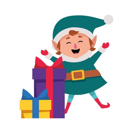 gift boxes and cartoon christmas elf over white background, vector illustration