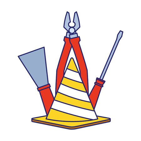safety cone with pliers and tools over white background, vector illustration Ilustração