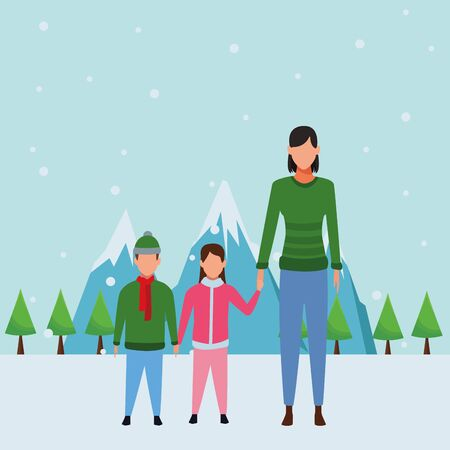 woman with children wearing winter clothes knitted cap and scarf snow mountain lanscape vector illustration graphic design