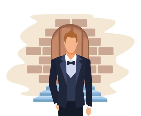 groom standing over door and bricks background, colorful design, vector illustration