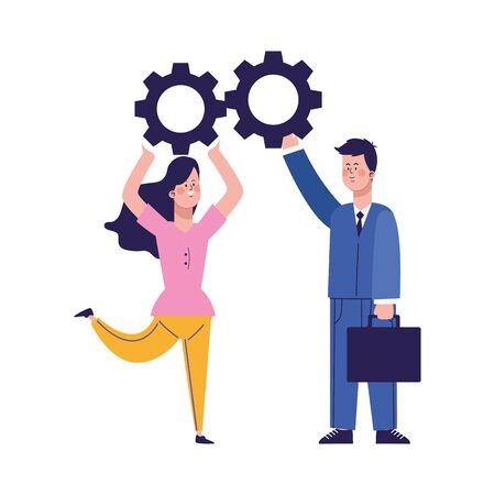 cartoon happy woman and businessman with gear wheels over white background, vector illustration